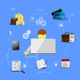 Concepts financial analytics. Vector Illustration concepts control payment, financial analytics, online banking Royalty Free Stock Photography