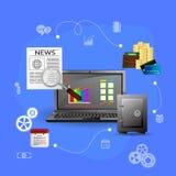 Concepts financial analytics. Vector Illustration concepts control payment, financial analytics, online banking Stock Photos