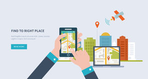 Concepts for finding the right place and people on. The map for travel and tourism. Mobile gps navigation on laptop and mobile phone with map. Mobile Royalty Free Stock Photos