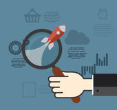 Concepts for finding the right strategy. Flat design concept for business - Concepts for Finding the right strategy for ideas in business Stock Images