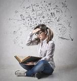 Concepts. A girl is studying many concepts Royalty Free Stock Image