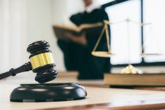 Lawyer or judge work in the office with gavel and balance. stock photos