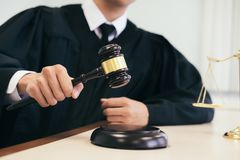 Lawyer or judge work in the office with gavel and balance. stock images