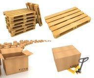 Concepts logistiques d'entrepôt - ensemble de 3D Images stock