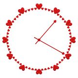Concepts: Love time - clock face with heart shape signs. Concepts: Love time - clock face with heart shape signs, isolated on white background. 3D rendering vector illustration