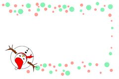 Snowman top view with red and green striped wheels, isolated on white background - Vector illustration with center copy-space. Concepts of Merry Christmas and Royalty Free Stock Images