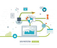 Concepts for mobile marketing, online shopping and financial strategy Stock Image