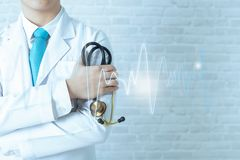 Concepts of modern technologies, doctor diagnostics of the stethoscope. stock photo