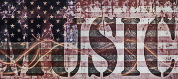 Concepts music and old grunge USA flag Stock Photo