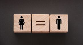 Free Concepts Of Gender Equality. Wooden Cubes With Female And Male Symbol And Equal Sign. Equal Pay Social Concept Royalty Free Stock Photography - 188377907