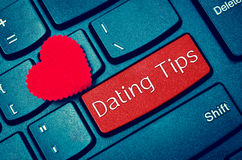 Concepts of online dating tips. Concepts of online dating tips, with message on enter key of keyboard royalty free stock photo