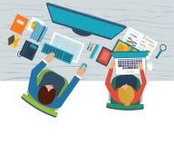 Concepts plats d'illustration de conception pour l'analyse commerciale sur la réunion, le travail d'équipe, le rapport financier, Photos stock