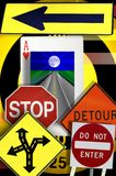 Concepts, Road Signs, Ace of Heart. Concepts, road signs, which way to go, travel, life's journey, collage stock image