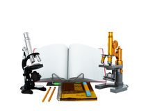 Concepts of school and education biology microscope 3D render on Stock Photos