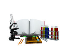 Concepts of school and education biology test tubes 3d microscop stock illustration