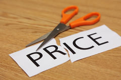 Concepts of scissor cut price tag Royalty Free Stock Photography