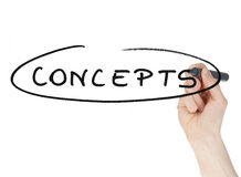 Concepts sign written by a felt tip pen on glass board Royalty Free Stock Photography