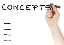 Concepts sign written by a felt tip pen on glass board Stock Image