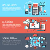 Concepts of social media, online news and blogging. Modern flat thin line design vector illustration, concept of social media, online news and blogging, for Royalty Free Stock Photography