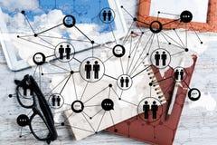 Concepts sociaux de connexion et de mise en réseau images stock