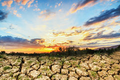 Concepts with  sunset and cracks soil Stock Photo