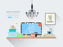 Concepts web banner for websites of online shopping. Modern vector illustration of blogger workplace in room. Creative office interior. Flat minimalistic style Stock Photo