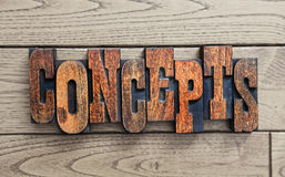 Concepts word background. Antique wooden letterpress blocks Stock Image