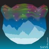 Conceptu ilustracja na temacie ochrona natura i zwierzęta z północnymi światłami w nocnym niebie w sylwetce niedźwiedź Zdjęcia Stock