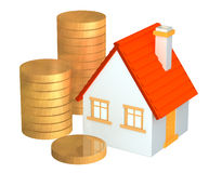 Conceptual 3d house and columns of gold coins Royalty Free Stock Photos