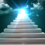 Conceptual 3d stair climbing to a leader. Conceptual stair climbing to heaven Royalty Free Stock Photography
