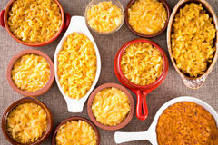 Conceptual above view of cheese macaroni served Stock Photo