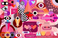 Abstract Art Design vector illustration. Conceptual Abstract Art design with musical instruments, cocktails and geometric shapes vector illustration royalty free illustration