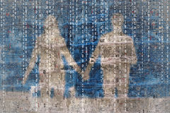 Conceptual abstract artificial intelligence with couple backgrou. Conceptual abstract artificial intelligence with couple silhouette background. Shadow of couple royalty free stock photos
