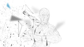 Conceptual abstract man is doing powerful punch. Connected lines, dots, triangles, particles. Artificial intelligence Royalty Free Stock Photos
