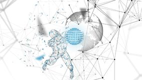 Conceptual abstract man holds a world globe. Connected lines, dots, triangles, particles. Artificial intelligence. Conceptual abstract man with hands up holds a Royalty Free Stock Images
