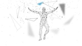 Conceptual abstract man in a jump. Connected lines, dots, triangles, particles. Artificial intelligence concept. High. Technology vector, digital background. 3D Stock Images