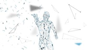 Conceptual abstract man touching or pointing to something. Connected lines, dots, triangles, particles. Artificial. Conceptual abstract mantouching or pointing Royalty Free Stock Photos