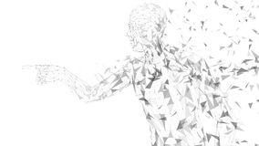 Conceptual abstract man touching or pointing to something. Connected lines, dots, triangles, particles on white. Background. Artificial intelligence concept Royalty Free Stock Photography