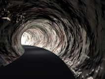 Conceptual abstract road tunnel with light at the end Stock Photos
