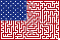 Conceptual American maze flag Royalty Free Stock Image