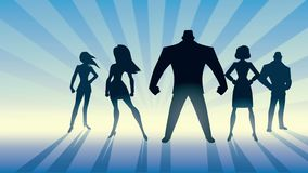 Super Business Team. Conceptual animation depicting business team with male leader or manager stock illustration