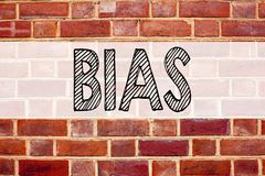 Conceptual announcement text caption inspiration showing Bias. Business concept for Prejudice Biased Unfair Treatment written on o. Ld brick background with stock images