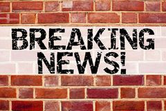Conceptual announcement text caption inspiration showing Breaking News. Business concept for Newspaper Breaking News written on ol. D brick background with space Royalty Free Stock Photos