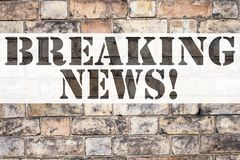 Conceptual announcement text caption inspiration showing Breaking News. Business concept for Newspaper Breaking News written on ol. D brick background with space Stock Photo