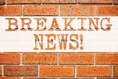 Conceptual announcement text caption inspiration showing Breaking News. Business concept for Newspaper Breaking News written on ol. D brick background with space Stock Photos