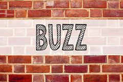 Conceptual announcement text caption inspiration showing Buzz. Business concept for Buzz Word llustration written on old brick bac. Kground with space royalty free stock image