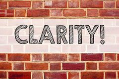 Conceptual announcement text caption inspiration showing Clarity. Business concept for Clarity Message written on old brick backgr. Ound with space Royalty Free Stock Images