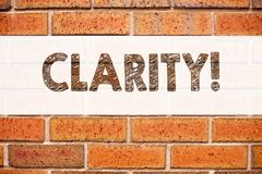 Conceptual announcement text caption inspiration showing Clarity. Business concept for Clarity Message written on old brick backgr. Ound with space Stock Photos