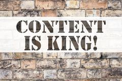Conceptual announcement text caption inspiration showing Content Is King. Business concept for Business Marketing Online Media wri Royalty Free Stock Image