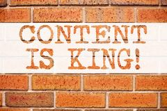 Conceptual announcement text caption inspiration showing Content Is King. Business concept for Business Marketing Online Media wri Stock Image